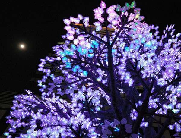 """东京举办""""日本桥·樱花庆典"""" 10万个LED灯泡打造另类樱花"""